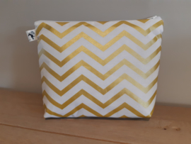 Toilettas chevron wit - goud