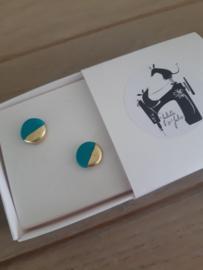 Oorbellen gold - turquoise