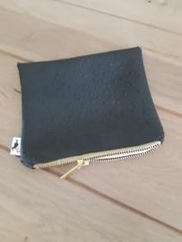 Clutch skai leather struisvogellook zwart
