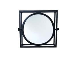 Stoere metalen spiegel, rond, diameter 30 cm