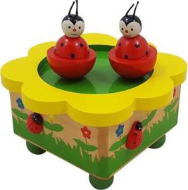Houten Muziekdoosje Lieveheersbeestjes