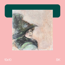 Dame 2 | mixed media | 10x10 | SK
