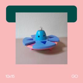 Ufo Blauw | Beeldhouwkunst | 10x15 | GO