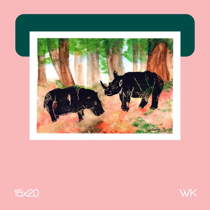 Neushoorn & Nijlpaard | Grafisch | 15x20 | WK