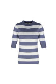 C&S Ivy top streep Jeansblauw