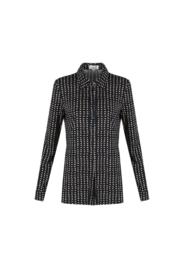 C&S Ina travel blouse zwart met print