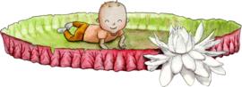 Baby op het blad van de Victoria amazonica romper