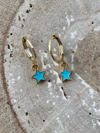 Oorringetje ster aquablauw