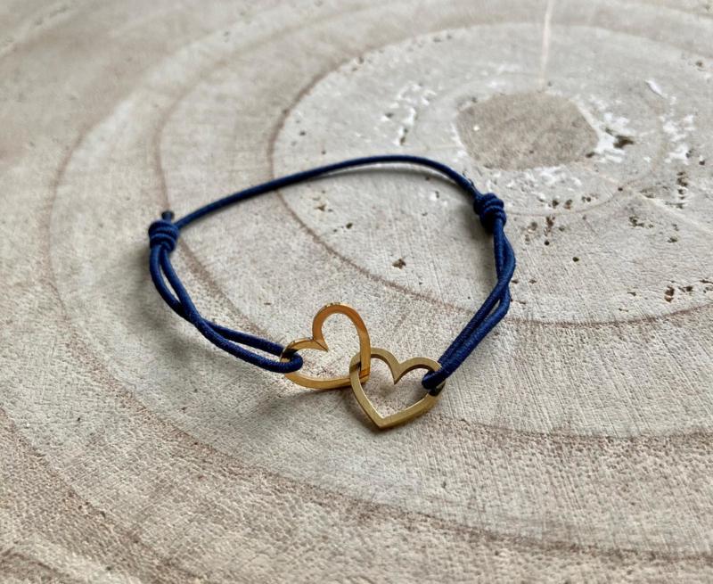 Armband RVS blauw dubbel hart