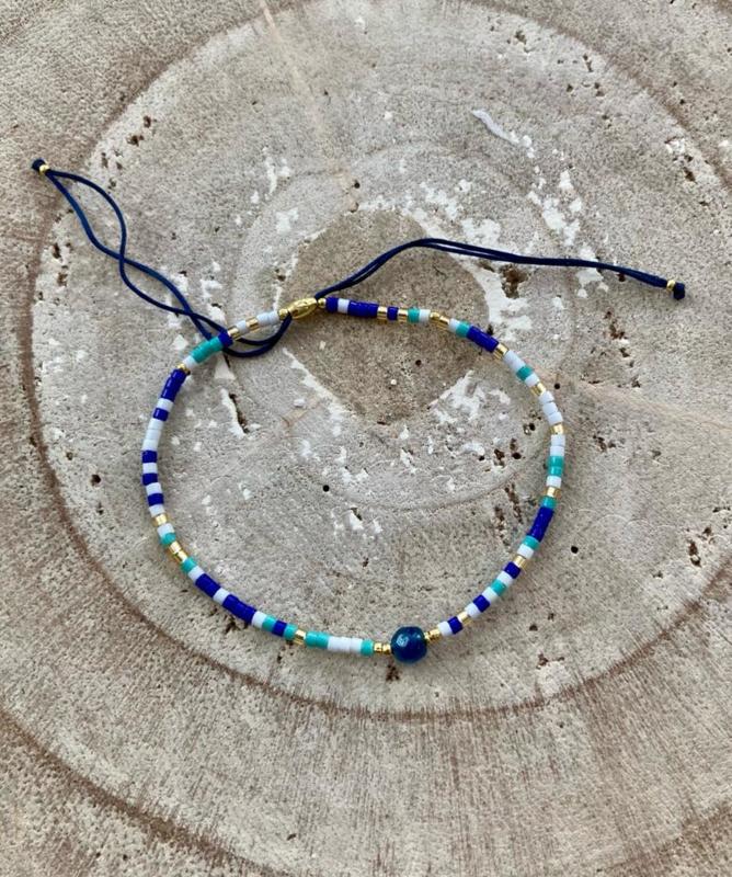 Bracelet blauw mix
