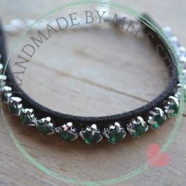 Strass borduurarmband donker groen