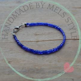 Armband met kristal glaskralen Royal Blue