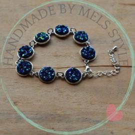 Druzy Resin armband donker blauw