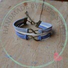 Suede koord armband met infinity tekens
