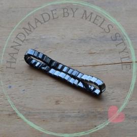 Geweven armband gunmetal