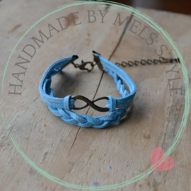 Suede koord armband blauw met glitters