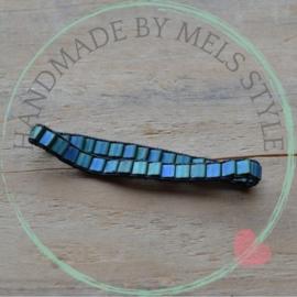 Geweven armband  mat blue green