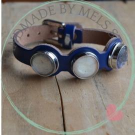 Lederen armband met glascabochon chunks