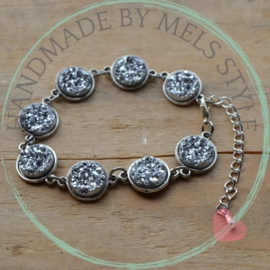 Druzy Resin armband zilverkleur