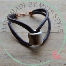 Lederen armband met breede keramiek kraal