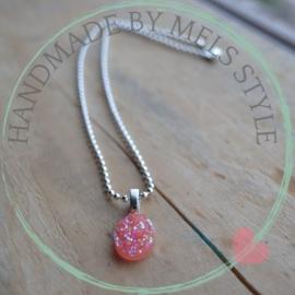 Ballchain ketting met roze druzy resin hanger