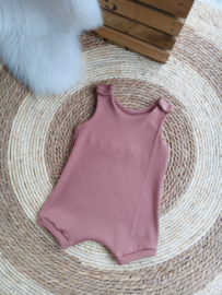Salopette kort zomer rib clay pink
