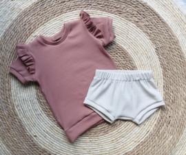 T- shirt zomer rib clay pink