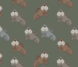 Kleedje walrussen olijf