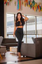 Mamacita,Super Lipo-broek met ingebouwde modelleerriem - Zwart Denim