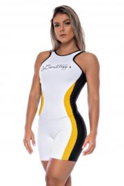 Grenzeloze jumpsuit Wit met geel / zwarte strepen van suplex polyamide en rubberen print - M -