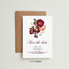 Bordeaux romantische bloemen save the date