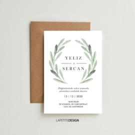 Elegant watercolor olive leaf