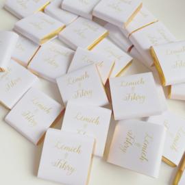 Vierkant wit met gouden tekst (20st.)