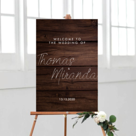 Welkomstbord wood background