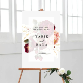 Welkomstbord met bordeaux bloemen