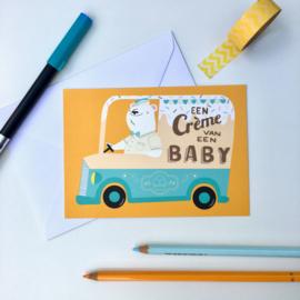 ansichtkaart een crème van een baby