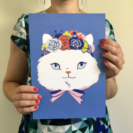 print flower crown cat