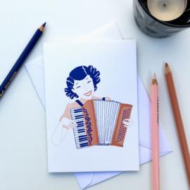 dubbele kaart accordion girl