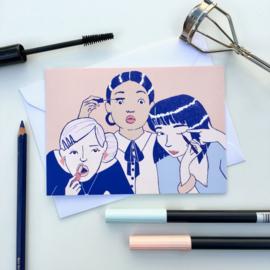 dubbele kaart making makeup faces