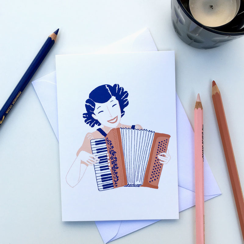 dubbele kaart accordion girl