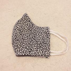 Mondkapje zwart witte mini panterprint en grijs