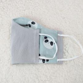 Mondkapje grijs en groen met panda's