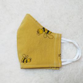 Kinder mondkapje okergeel met bijtjes