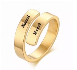 Goud- of Zilverkleurige Ring met Gravering  2 Namen