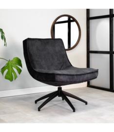 De draaibare fauteuil tommy velvet antraciet