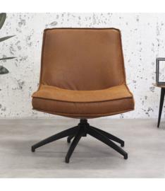 De draaibare fauteuil tommy eco leer cognac