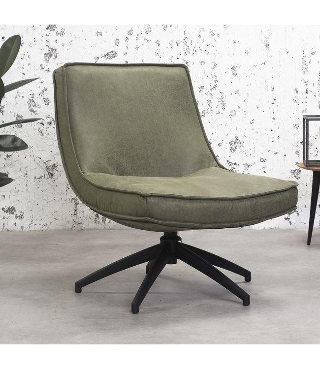 De draaibare fauteuil tommy eco leer groen
