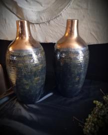 Vazen keramiek groen/blauw/goud/brons