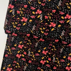 Zwarte bloemenstof