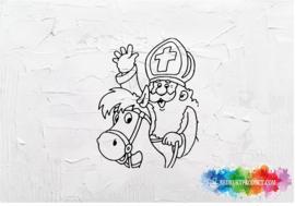 Sinterklaas te paard sticker